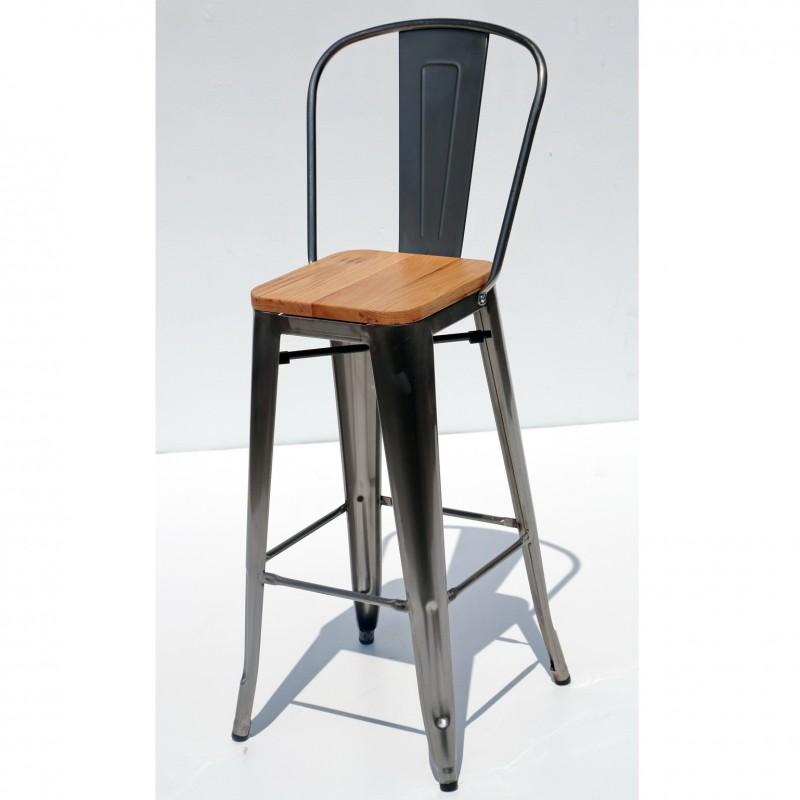 כסא בר דורתי – מתכת מושב עץ
