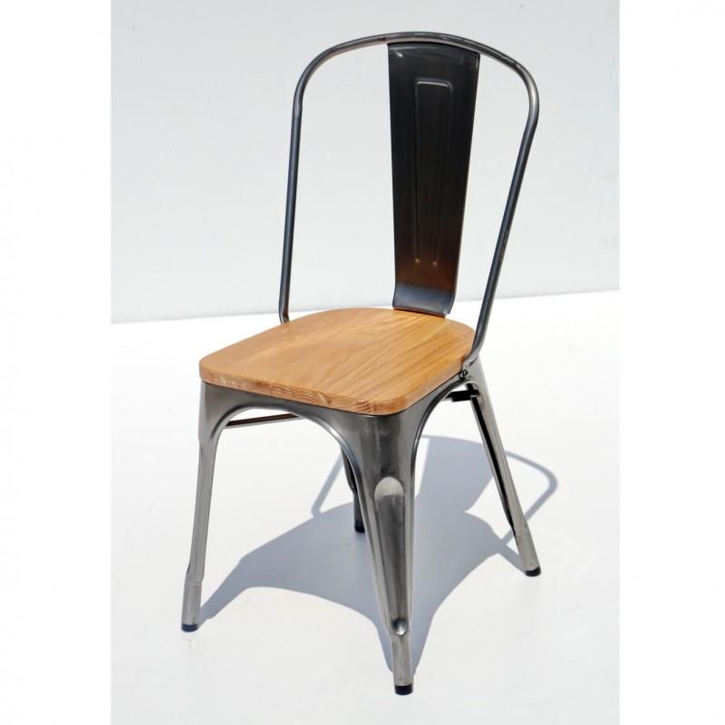 כסא דורתי – מתכת מושב עץ