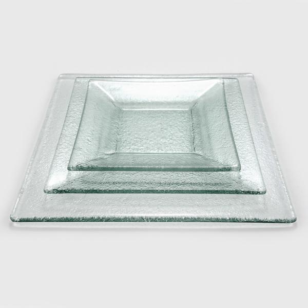 צלחת זכוכית מרובעת