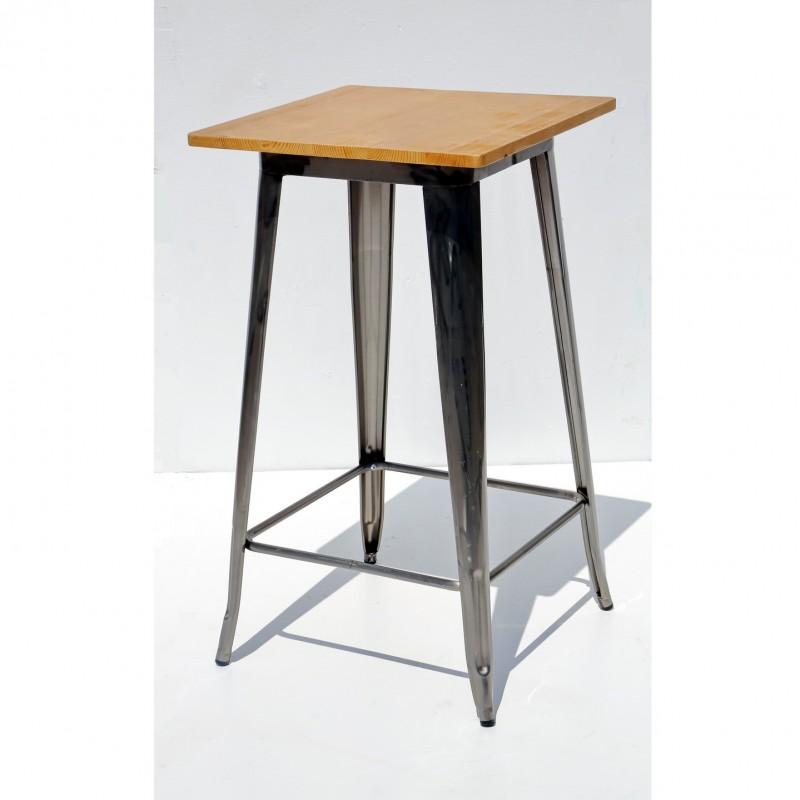 שולחן בר דורתי – מתכת טופ עץ