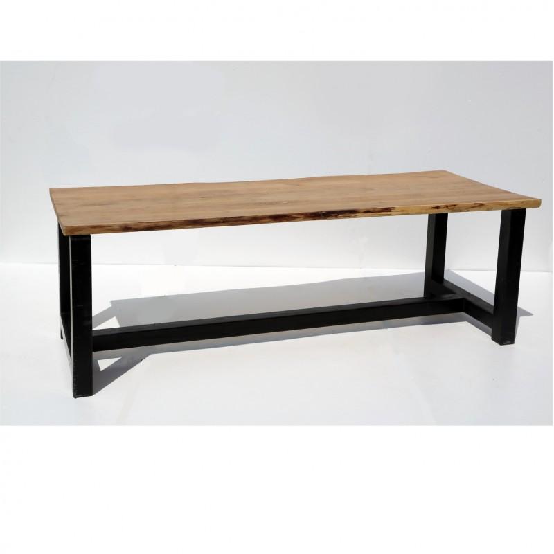 שולחן טופ עץ טבעי – רגל שחורה