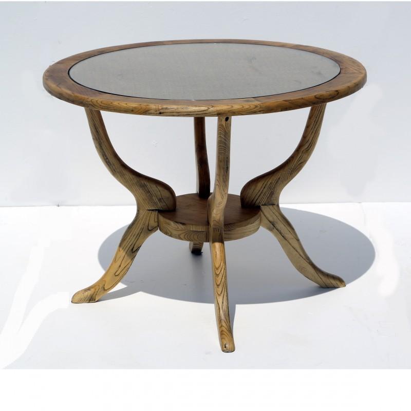 שולחן עץ טבעי – רגל מעוצבת