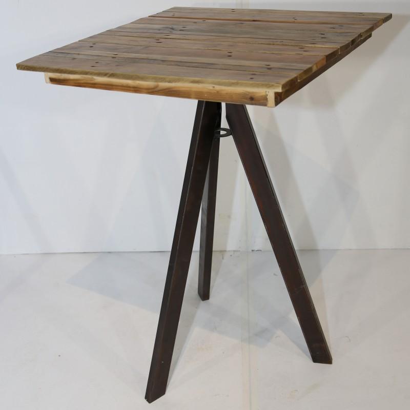 שולחן בר מרובע- עץ טבעי