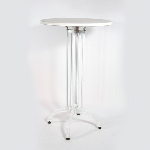 שולחן בר עגול לבן