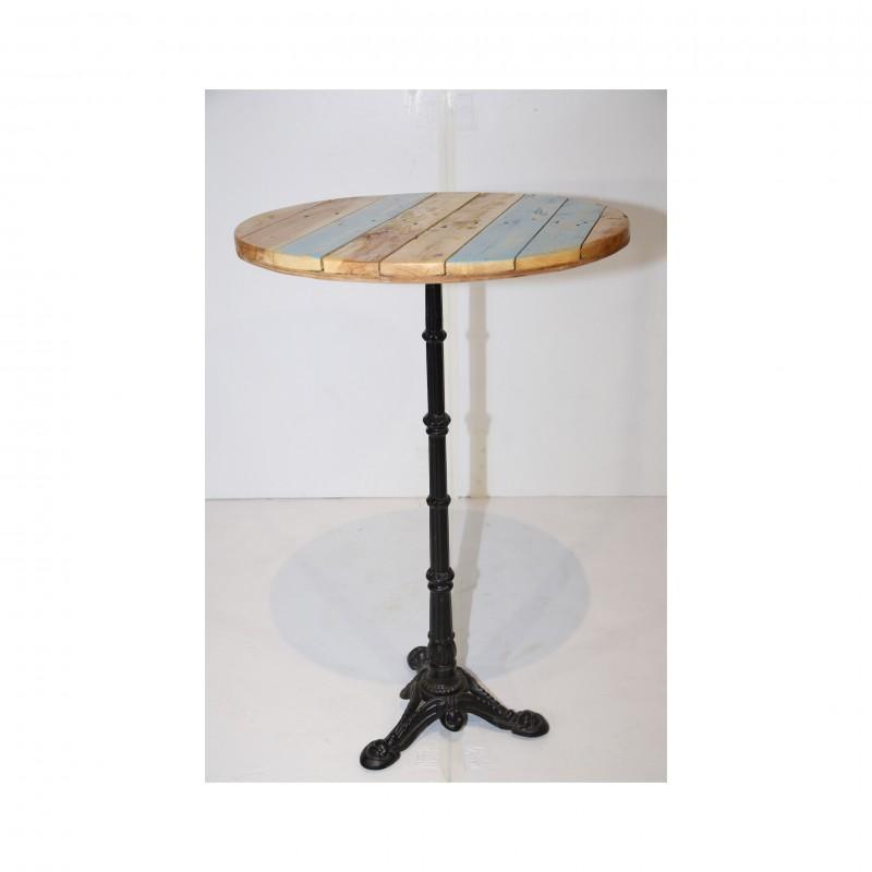 שולחן בר עגול- עץ טבעי ופסי תכלת